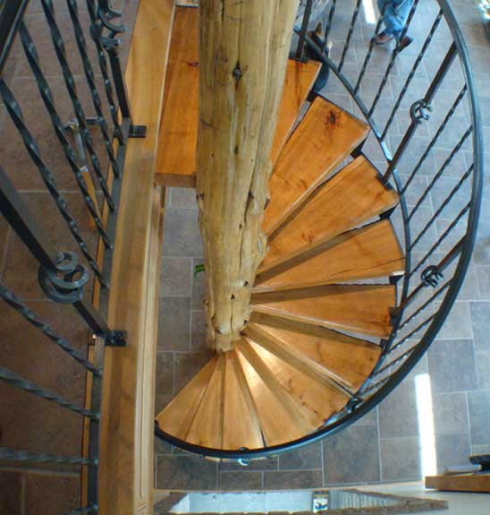 Cherry and Cedar Hand Crafted Solid Wood Spiral Stairs