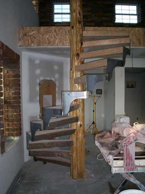Handcrafted Solid Wood Cherry and Cedar Spiral Stairs In-Process