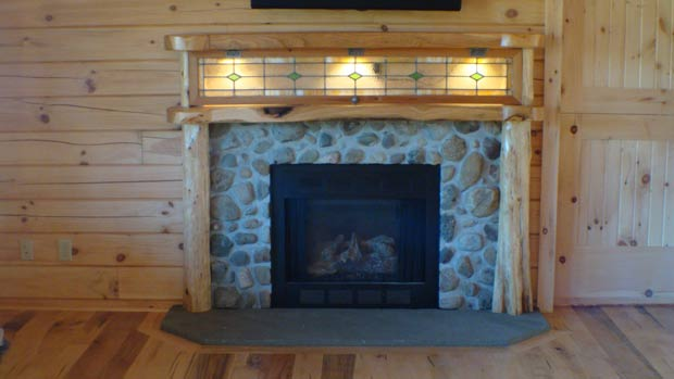 Soild Cherry Mantel with Cedar Columns and Antique Window