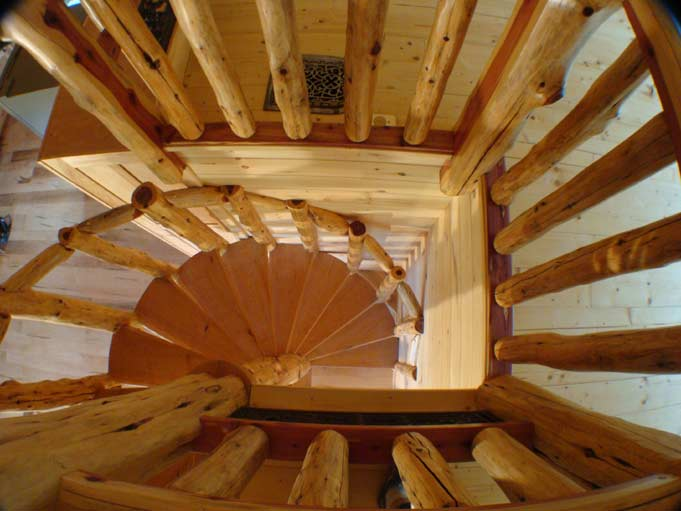 Cherry and Cedar Spiral Stairs 2nd Floor Down