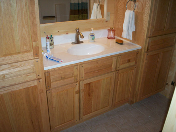 Hand crafted soild oak bathroom vanity and cabinets grove for Cabinets and vanities