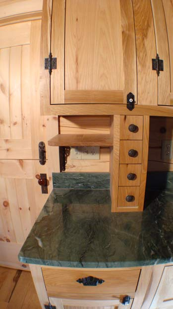 Handcrafted Soild Wood Hickory Kitchen Cabinets: Phone Nook