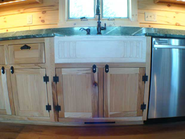 Hand Crafted Solid Hickory Cabinet for Custom Kitchen Sink