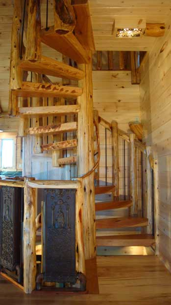 Hand Crafted Solid Cedar and Cherry Spiral Stairs: Izzo