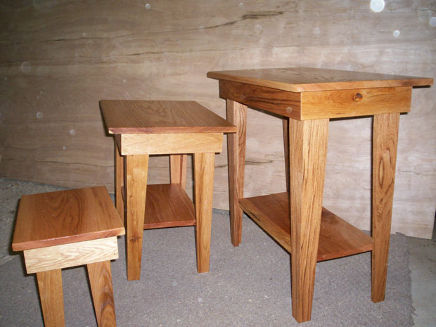Hand Crafted Solid Oak End Tables: Reed