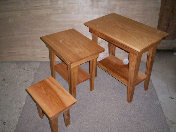 hand crafted solid oak end tables set of 3 reed