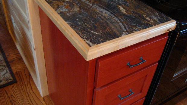 Hand Crafted Solid Cherry (Stained Cabin Red) Kitchen Cabinets: Shank