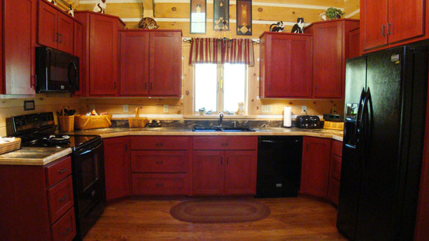 Red Stained Kitchen Cabinets
