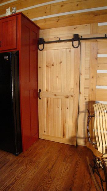 Hand crafted solid pine interior rolling door shank