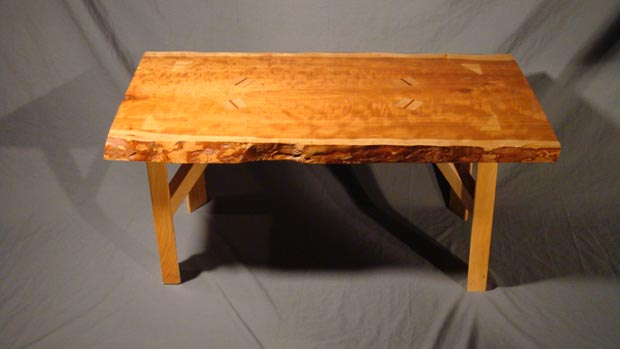 Hand Crafted Solid Cherry Wood Slab Coffee Table